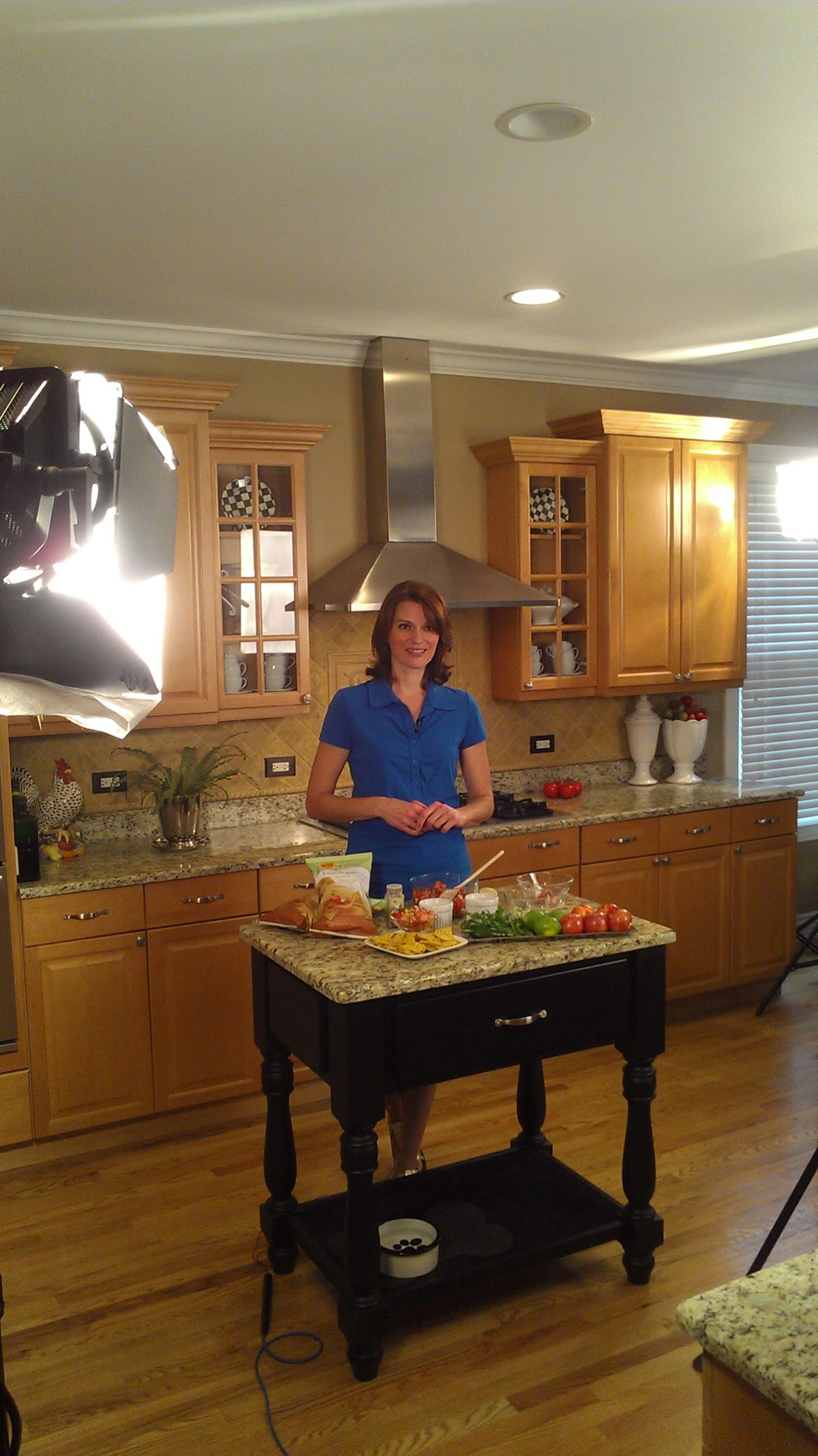 in the kitchen filming tv commercials