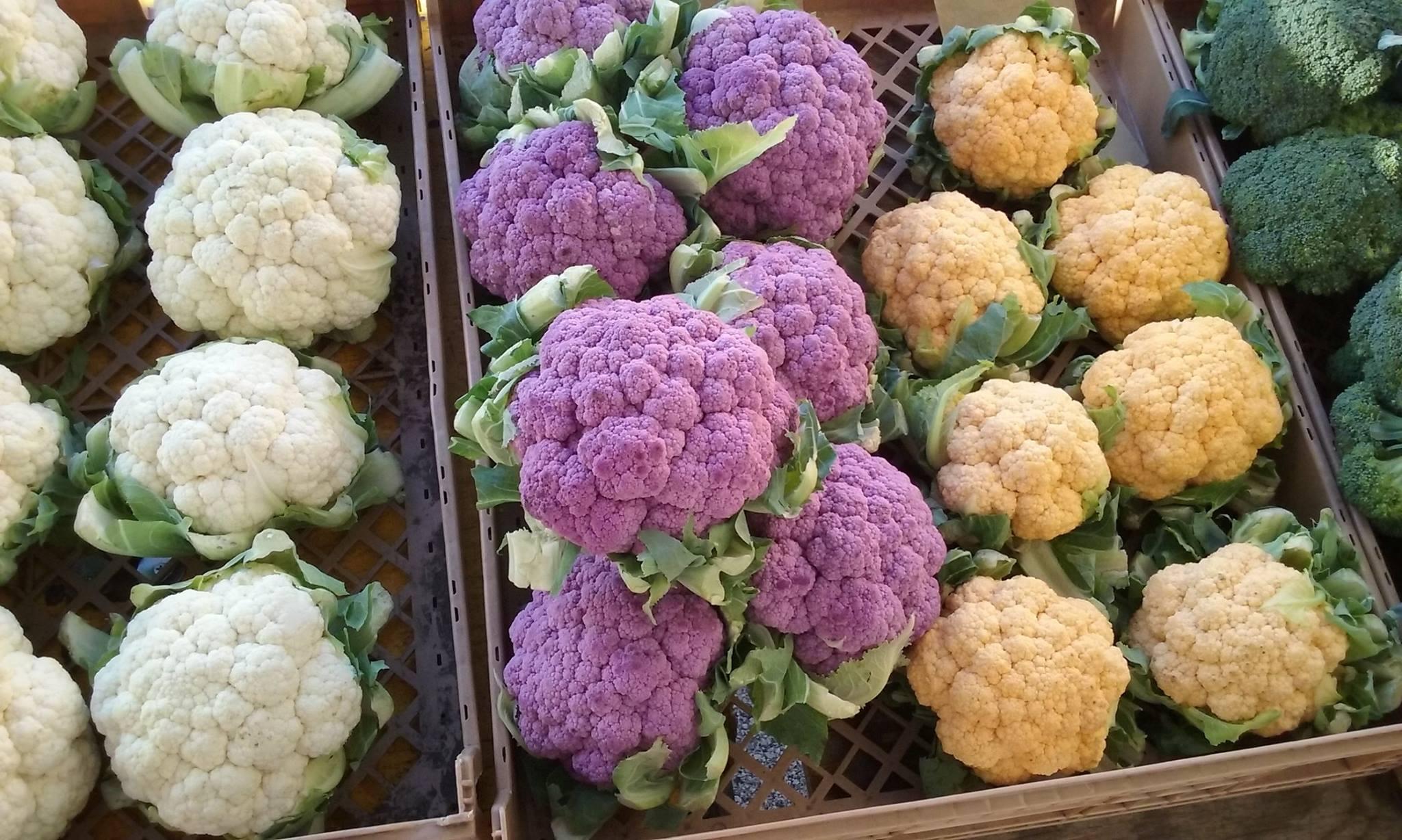 purple white orange cauliflower