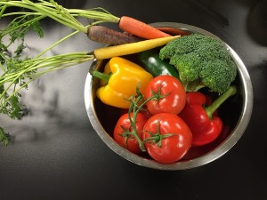 vegetables in colander