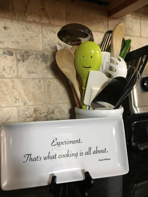 kitchen utensils and quote