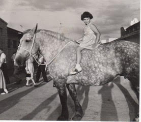 newspaper clipping dapple gray horse and mom as kid