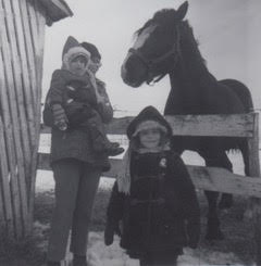 outside the barn with a horse