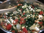 spinach tomato onion cheese mixture