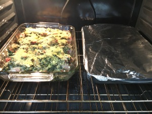 two casseroles in oven