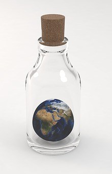 bottle with earth inside