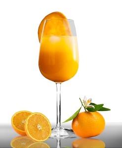 orange juice stemmed glass