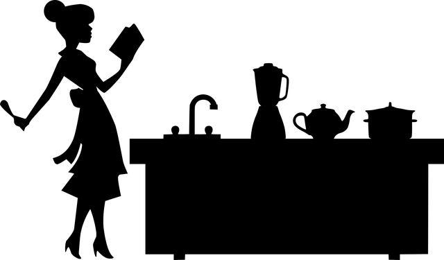 woman reading recipe meal prep