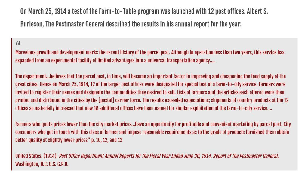 history of farm to table from USDA